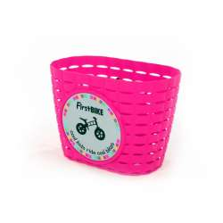 FirstBIKE basket PINK, incl. strap&sticker