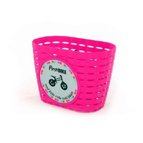 FirstBIKE basket PINK, incl. strap&sticker